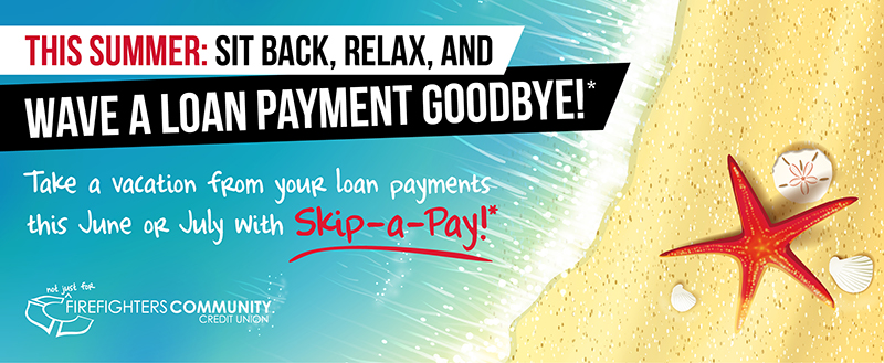 Skip a loan payment. Sand and beach image.
