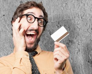 Man holding a credit card.