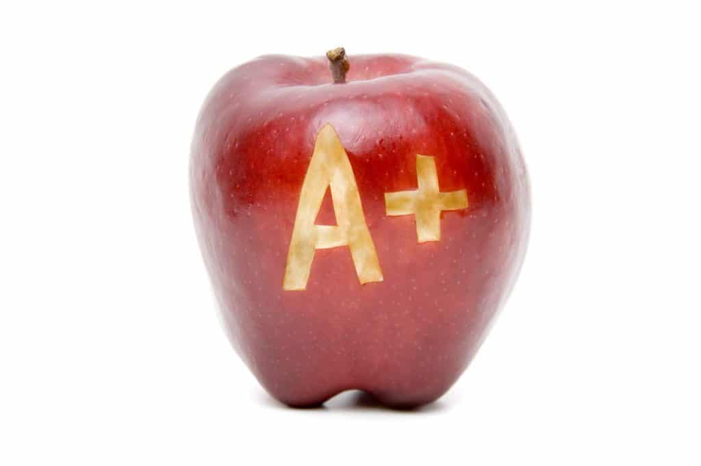 Good Grades Apple with A+ carved in it