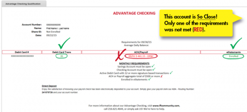 Advantage Checking Status in Online Banking