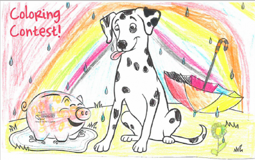 Sparky coloring contest - sparky and smokey in the rain